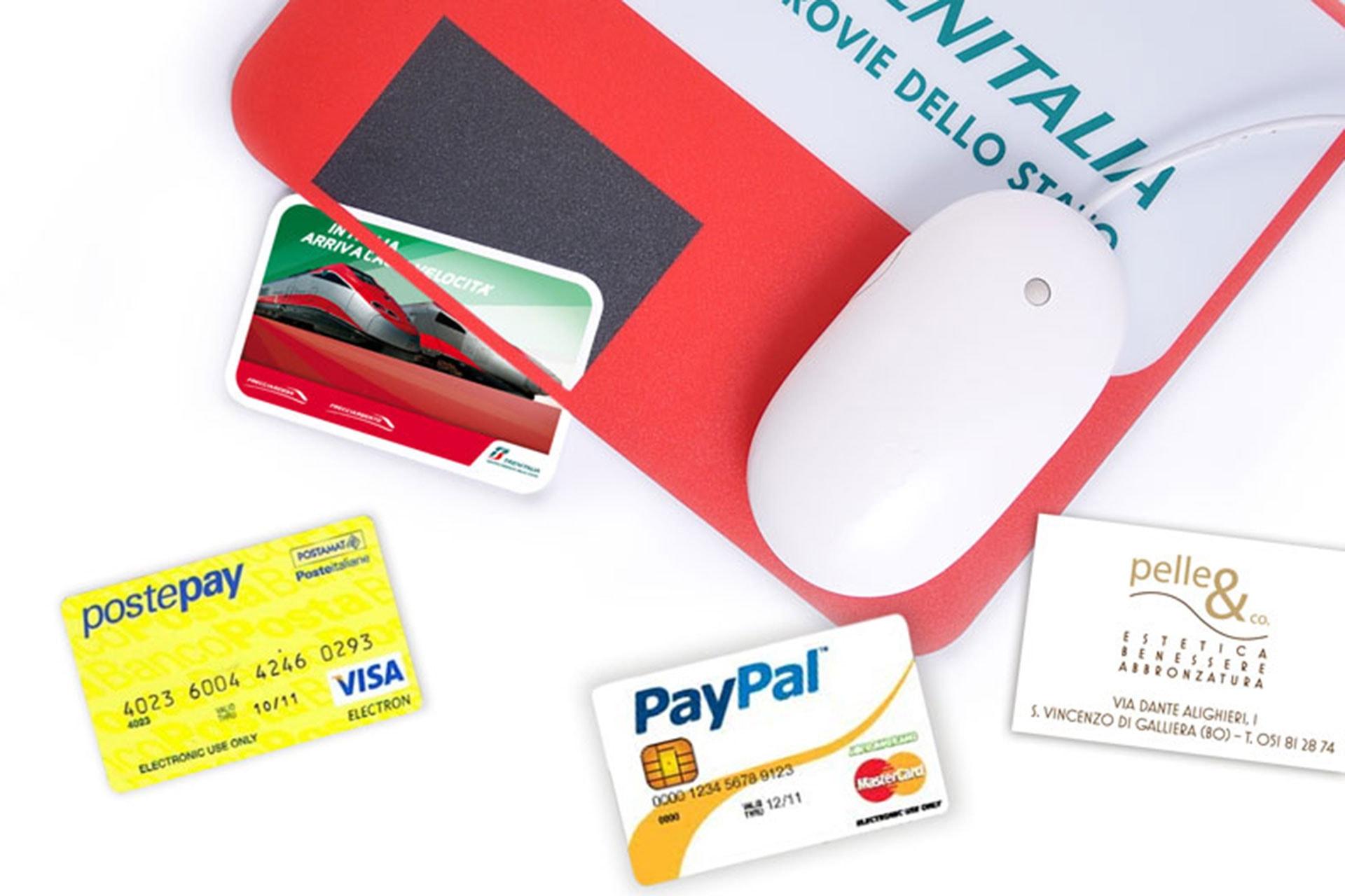 Mouse pad porta card, creditcard, pass, biglietto da visita