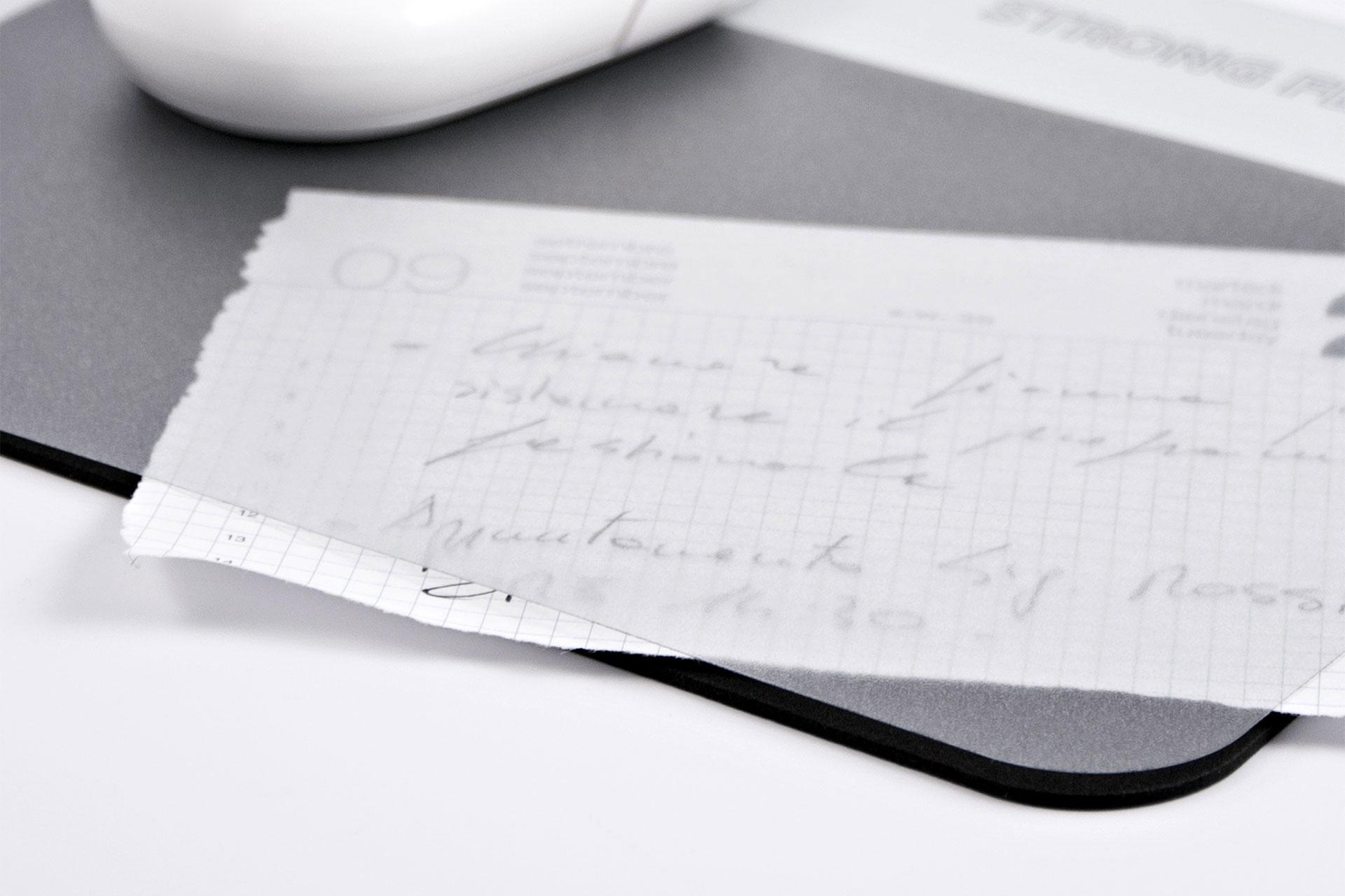 Mouse pad portadocumenti con tasca trasparente