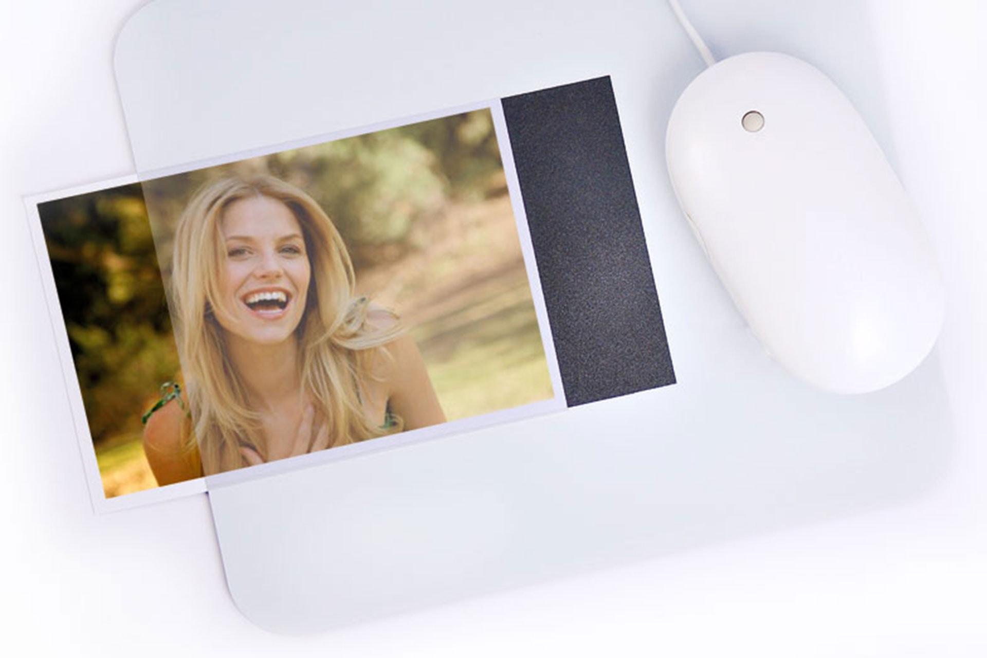 Tappetini mouse con tasca portafoto aggiornabile sfilabile